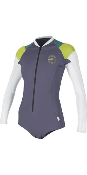 2019 O'Neill Womens Full Zip Long Sleeve Surf Suit Dusk / Lime 5312S