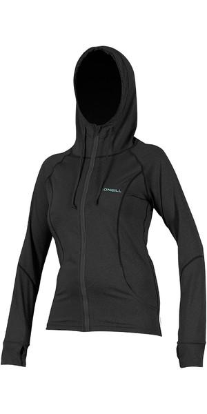 2019 O'Neill Womens Hybrid Long Sleeve Zipped Sun Hoody Black 5054