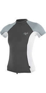 2019 O'Neill Womens Premium Skins Short Sleeve Rash Vest Graphite / White 4171