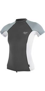 2019 O'Neill Womens Premium Skins Short Sleeve Rash Vest Graphite / White 4171