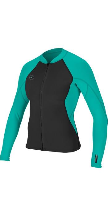 2021 O'Neill Womens Reactor II 1.5mm Front Zip Neoprene Jacket Black / Aqua 5294