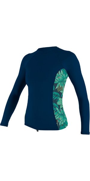 2019 O'Neill Womens Side Print Long Sleeve Rash Vest Abyss / Faro 5310S