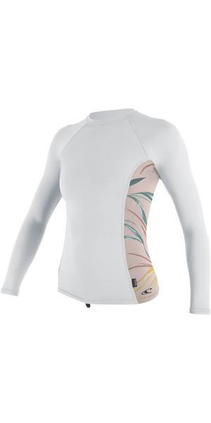 2019 O'Neill Womens Side Print Long Sleeve Rash Vest White / Claris 5310S