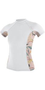 2019 O'Neill Womens Side Print Short Sleeve Rash Vest White / Claris 5309S