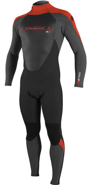 2018 O'Neill Youth Epic 5/4mm Back Zip GBS Wetsuit BLACK / GRAPHITE / RED 4219