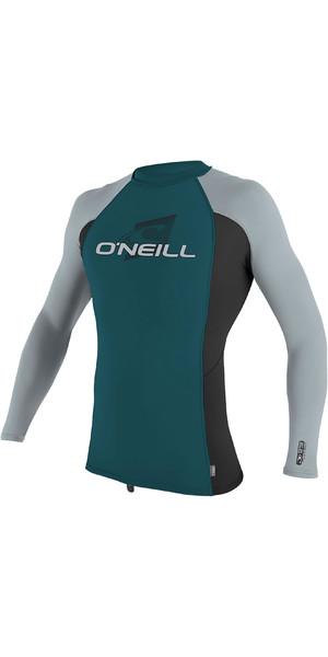 2019 O'Neill Youth Premium Skins Long Sleeve Rash Vest Teal / Black 4174