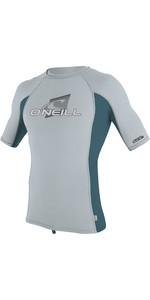 2019 O'Neill Youth Premium Skins Short Sleeve Rash Vest Cool Grey / Teal 4173