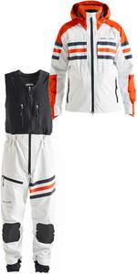 2019 Henri Lloyd Mens Fremantle Stripe Hooded Gore-Tex Jacket & Salopettes Combi Set Cloud White