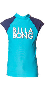 Billabong Junior Wash Away Short Sleeve Rash Vest in FIJI BLUE P4KY09