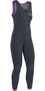 2021 Palm Blaze Womens 3mm GBS Front Zip Long John Wetsuit Jet Grey 12231