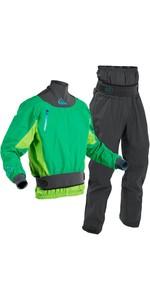 2020 Palm Mens Zenith Whitewater Kayak Jacket & Trouser Combi Set - Mint Lime /  Grey