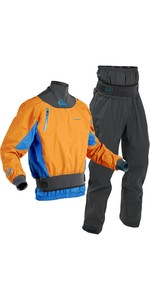 2020 Palm Mens Zenith Whitewater Kayak Jacket & Trouser Combi Set - Sherbet / Grey