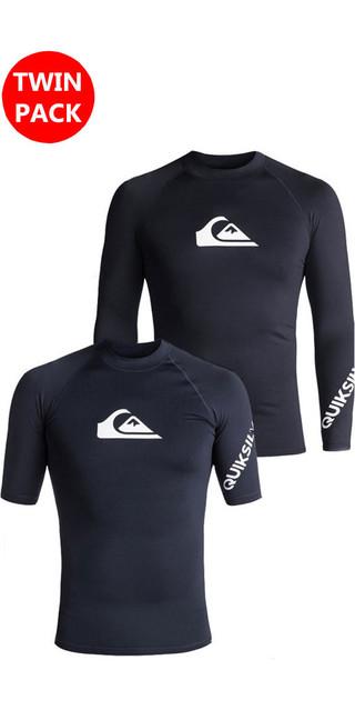 2018 Quiksilver All Time Ls & Ss Rash Vests Navy Blazer Bundle Offer Picture