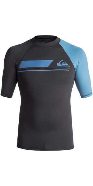2018 Quiksilver Active Short Sleeve Rash Vest Tarmac / Cendre Blue Eqywr03073 Picture