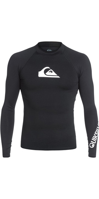 2018 Quiksilver All Time Long Sleeve Rash Vest Black Eqywr03034 Picture