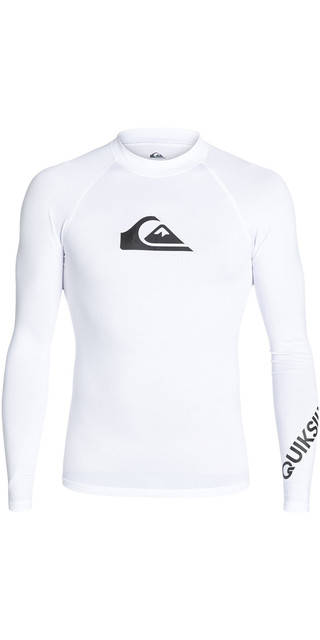 2018 Quiksilver All Time Long Sleeve Rash Vest White Eqywr03034 Picture