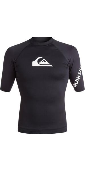 2018 Quiksilver All Time Short Sleeve Rash Vest BLACK EQYWR03033