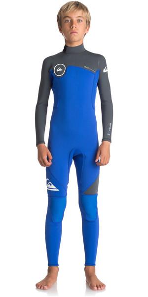2018 Quiksilver Boys Syncro Series 3/2mm Back Zip Wetsuit HV ROYAL BLUE / GUNMETAL GREY EQBW103022