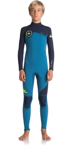 2018 Quiksilver Boys Syncro Series 3/2mm Back Zip Wetsuit MARINA / BLUE NIGHTS EQBW103022