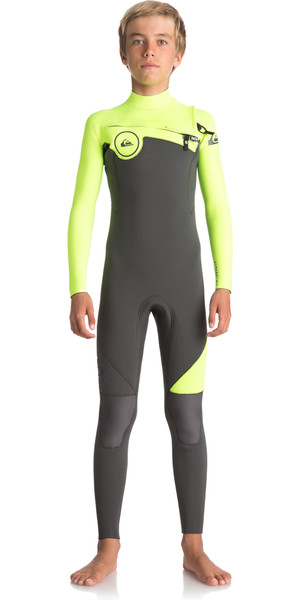 2018 Quiksilver Boys Syncro Series 3/2mm Chest Zip Wetsuit JET BLACK / SAFETY YELLOW EQBW103019