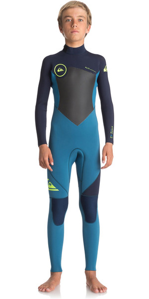2018 Quiksilver Boys Syncro Series 3/2mm GBS Back Zip Wetsuit MARINA / BLUE NIGHTS EQBW103023