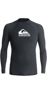 2018 Quiksilver Heater Long Sleeve Rash Vest BLACK EQYWR03078