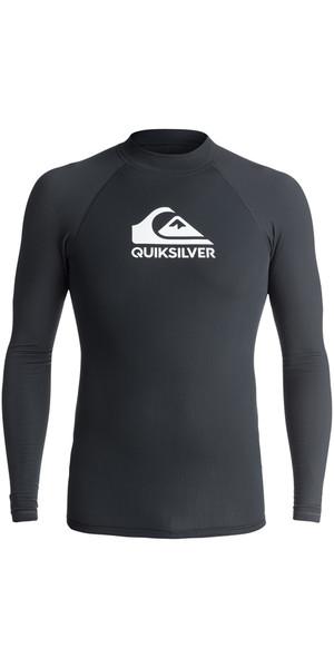 2018 Quiksilver Heater Long Sleeve Rash Vest BLACK EQYWR03078