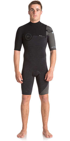 2018 Quiksilver Highline Series 2mm Zipperless Shorty Wetsuit JET BLACK EQYW503007