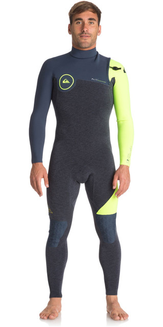 2018 Quiksilver Highline Series 3/2mm Zipperless Wetsuit Slate / Pewter / Safety Yellow Eqyw103050 Picture