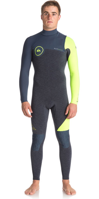 2018 Quiksilver Highline Series 4/3mm Zipperless Wetsuit Slate / Pewter / Safety Yellow Eqyw103051 Picture