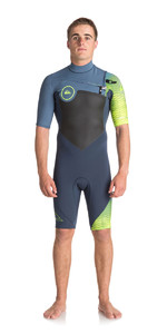 2018 Quiksilver Highline+ 2mm Chest Zip Shorty Wetsuit SLATE / PEWTER / SAFETY YELLOW EQYW503005