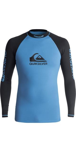 2018 Quiksilver On Tour Long Sleeve Rash Vest Brilliant Blue / Black Eqywr03076 Picture