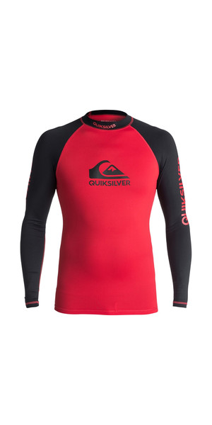 2018 Quiksilver On Tour Long Sleeve Rash Vest RED / BLACK EQYWR03076