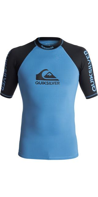 2018 Quiksilver On Tour Short Sleeve Rash Vest Brilliant Blue / Black Eqywr03075 Picture