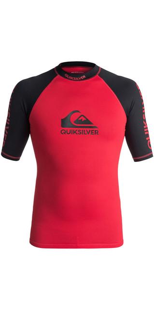 2018 Quiksilver On Tour Short Sleeve Rash Vest Red / Black Eqywr03075 Picture