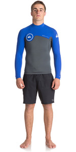 2018 Quiksilver Syncro Series 1.5mm Quarter Back Zip Neoprene Top GUNMETAL / ROYAL BLUE EQYW803011