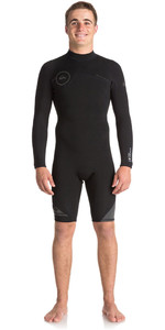 Quiksilver Syncro Series 2mm Long Sleeve Back Zip Shorty Wetsuit JET BLACK EQYW403005