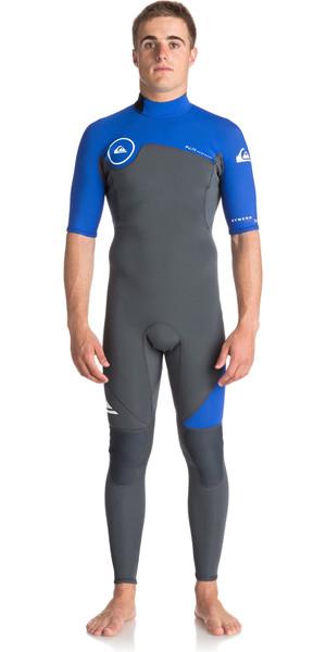 2018 Quiksilver Syncro Series 2mm Short Sleeve Back Zip Wetsuit GUNMETAL / ROYAL BLUE EQYW303005