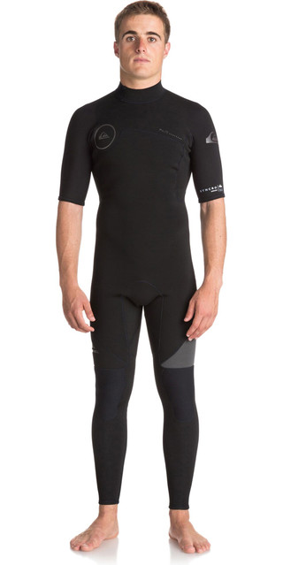 2018 Quiksilver Syncro Series 2mm Short Sleeve Back Zip Wetsuit Jet Black Eqyw303005 Picture