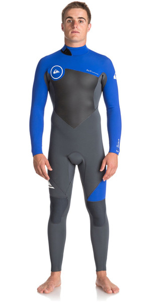 2018 Quiksilver Syncro Series 3/2mm Flatlock Back Zip Wetsuit GUN METAL / ROYAL BLUE EQYW103036
