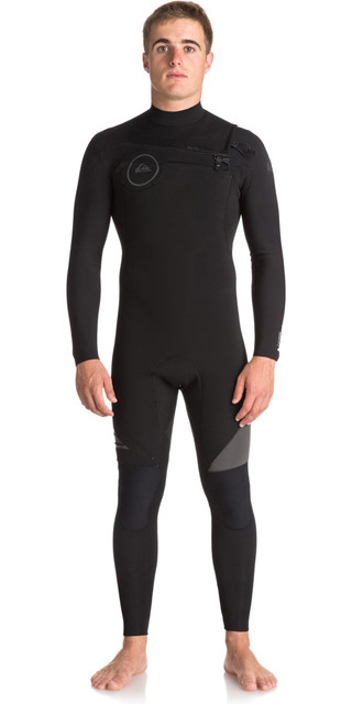 2018 Quiksilver Syncro Series 4/3mm Gbs Chest Zip Wetsuit Jet Black Eqyw103042 Picture