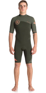 2018 Quiksilver Syncro series 2mm Back Zip Shorty Wetsuit DARK IVY EQYW503006