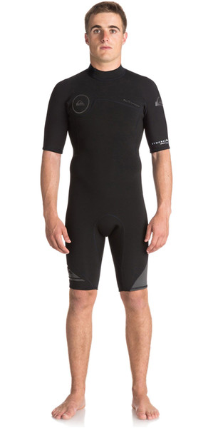 2018 Quiksilver Syncro series 2mm Back Zip Shorty Wetsuit JET BLACK EQYW503006
