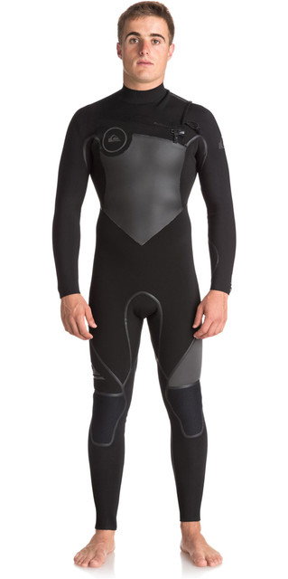2018 Quiksilver Syncro+ 4/3mm Chest Zip Wetsuit Jet Black Eqyw103044 Picture