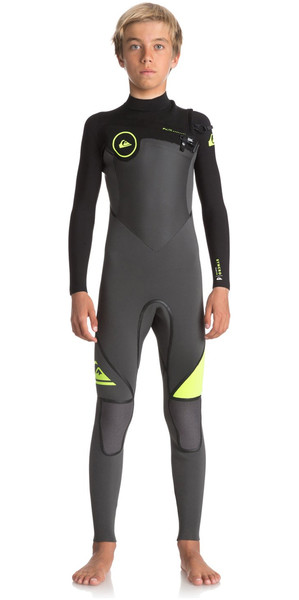 2018 Quiksilver Boys Syncro+ 4/3mm Chest Zip Wetsuit JET BLACK / SAFETY YELLOW EQBW103029