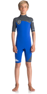 Quiksilver Boys Syncro Series 2mm Back Zip Shorty Wetsuit HV ROYAL BLUE / GUNMETAL   EQBW503004