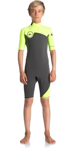 Quiksilver Boys Syncro Series 2mm Back Zip Shorty Wetsuit JET BLACK / SAFETY YELLOW EQBW503004