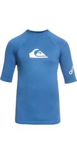 2018 Quiksilver Boys All Time Short Sleeve Rash Vest ELECTRIC BLUE EQBWR03006