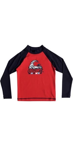 2018 Quiksilver Boys Bubble Dream Long Sleeve Rash Vest RED EQKWR03023