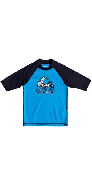 2018 Quiksilver Boys Bubble Dream Short Sleeve Rash Vest BLUE EQKWR03024